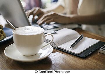 magasin, café, femme, travail, dactylographie