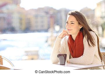 magasin, café, femme, vacances, délassant