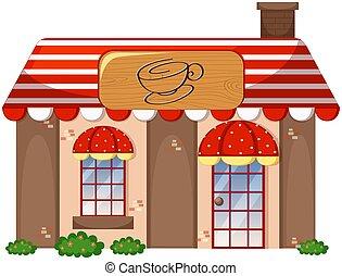 magasin, café, fond blanc