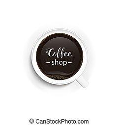 magasin, café, illustration., cup., isolated., sommet, matin, réaliste, chaud, vecteur, icon., vue., coffee.