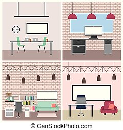 magasin, café, interiores, espace de travail, restaurant