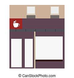 magasin, café, isolé