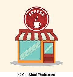 magasin, café, magasin, marché, restaurant