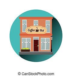 magasin, café, marché