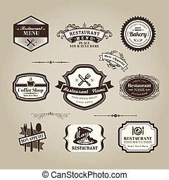 magasin, café, menu restaurant, cadre, signe, vendange, ou