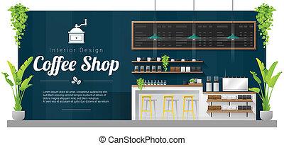magasin, café, moderne, compteur barre, scène, 1, fond, intérieur