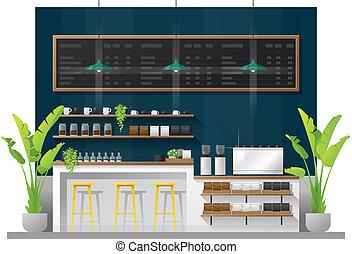 magasin, café, moderne, compteur barre, scène, 1, intérieur