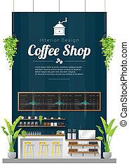 magasin, café, moderne, compteur barre, scène, 2, fond, intérieur