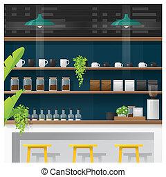 magasin, café, moderne, compteur barre, scène, 2, intérieur