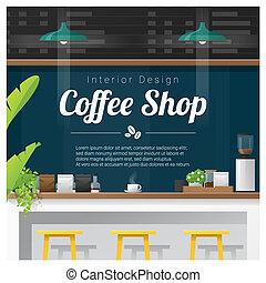magasin, café, moderne, compteur barre, scène, 3, intérieur