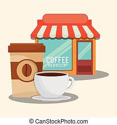 magasin, café, papier, marché, tasse