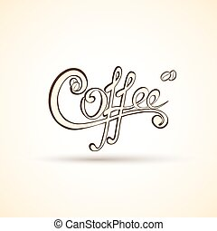 magasin, café, paquet, étiquettes, original, ou, site web, vecteur, advertisement., calligraphie, ton, logo, manuscrit