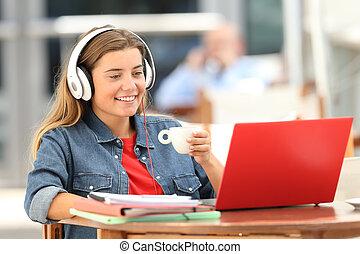 magasin, café, regarder, média, décontracté, étudiant, ligne