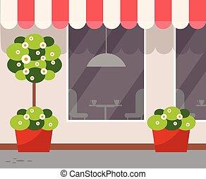 magasin, café, restaurant extérieur, vue extérieure