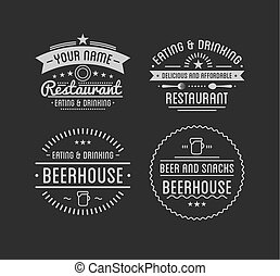magasin, café, restaurant, vendange, label., logo., template.