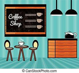 magasin, café, scène, restaurant