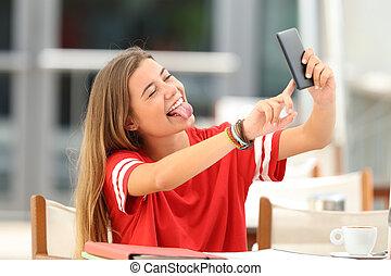 magasin, café, selfie, prendre, étudiant
