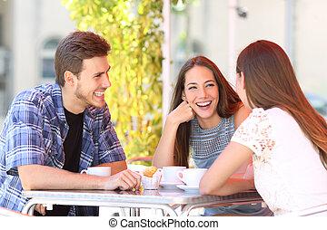 magasin, café, trois, conversation, amis, heureux