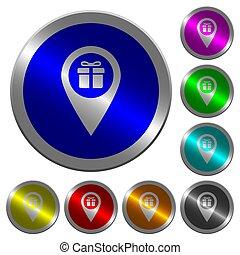 magasin, carte, cadeau, couleur, boutons, emplacement,...