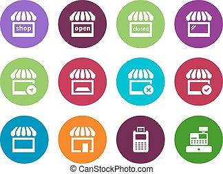 magasin, cercle, icônes, blanc, arrière-plan.