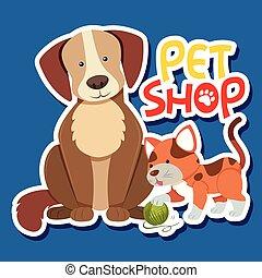 magasin, chouchou, autocollant, chien, chat, gabarit