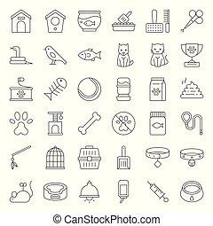 magasin, chouchou, symbole, apparenté, vecteur, ligne mince, icône