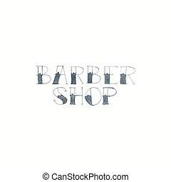 magasin, coiffeur, aquarelle., aquarelle, signe., vecteur, illustration., fond, signes, blanc
