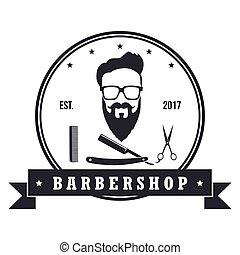 magasin, coiffeur, bannière, elements., vendange, étiquettes, illustration, vecteur, conception, insignes, emblems., logo