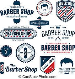 magasin, coiffeur, graphiques