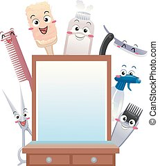 magasin, coiffeur, outils, illustration, mascotte