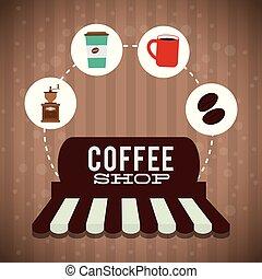 magasin, commercialisation, café, magasin, affiche