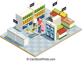 magasin, commode, composition, famille