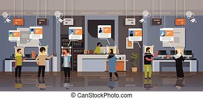 magasin, concept, moderne, choisir, reconnaissance, système, surveillance, mélange, appareil photo, identification, numérique, intérieur, magasin électronique, clients, entiers, cctv, facial, horizontal, appareils, longueur, course, sécurité