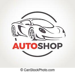 magasin, concept, super, auto, sports, conception, véhicule, logo., voiture