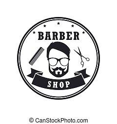magasin, conception, bannière, elements., vendange, étiquettes, illustration, vecteur, coiffeur, insignes, emblems., hipster, logo