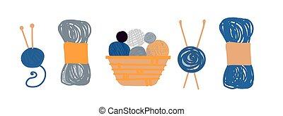 magasin, couture, élégant, hand-drawn, balles, collection, magasin, logo, style, tricot, conception, arrière-plan., blanc, fil, cours, skeins, clipart, dessins, plat, atelier