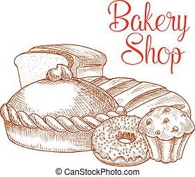 magasin, croquis, affiche, boulangerie, vecteur, pain