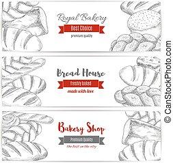 magasin, croquis, ensemble, royal, boulangerie, vecteur, bannières, pain