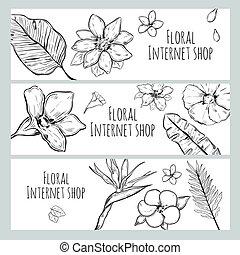 magasin, croquis, internet, floral, bannières, horizontal