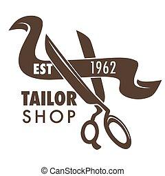 magasin, croquis, logo, ciseaux, main, tissu, tailleur, dessiné