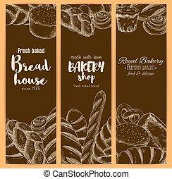magasin, croquis, maison, boulangerie, vecteur, bannières, pain