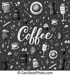 magasin, croquis, thème, coloré, café, lotissements, pattern., seamless, vecteur, dessin animé, arrière-plan., hand-drawn, éléments, conception, objets, doodles, café, vous, détaillé, sujet