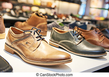 magasin, cuir, mâle, chaussures, chaussures