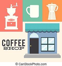 magasin, détaillé, café, façade, affiche