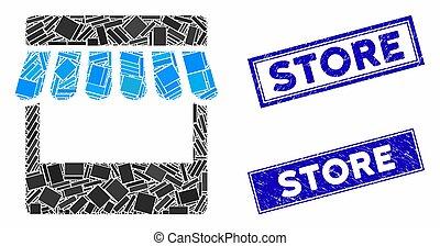 magasin, détresse, timbre, cachets, rectangle, mosaïque