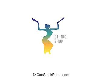 magasin, danse, créatif, girl., ethnique, logo