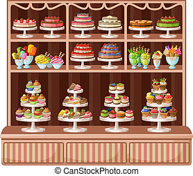 magasin, de, bonbons, et, bakery., vecteur, illustration