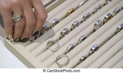 magasin, doré, anneaux, bijoux