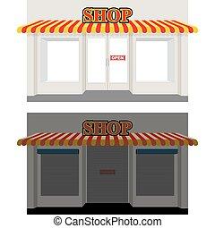 magasin, dusk., open., storefront, jour, fenêtre, sun., fermé, showcases, closed., signe, blinds., night.