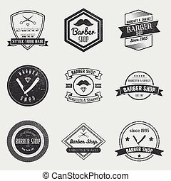 magasin, ensemble, éléments, vendange, étiquettes, emblèmes, vecteur, conception, logo, coiffeur, style., insignes